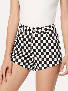 Checked Print Shorts