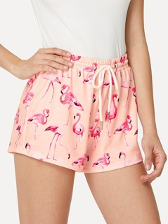Flamingo Print Sweat Shorts