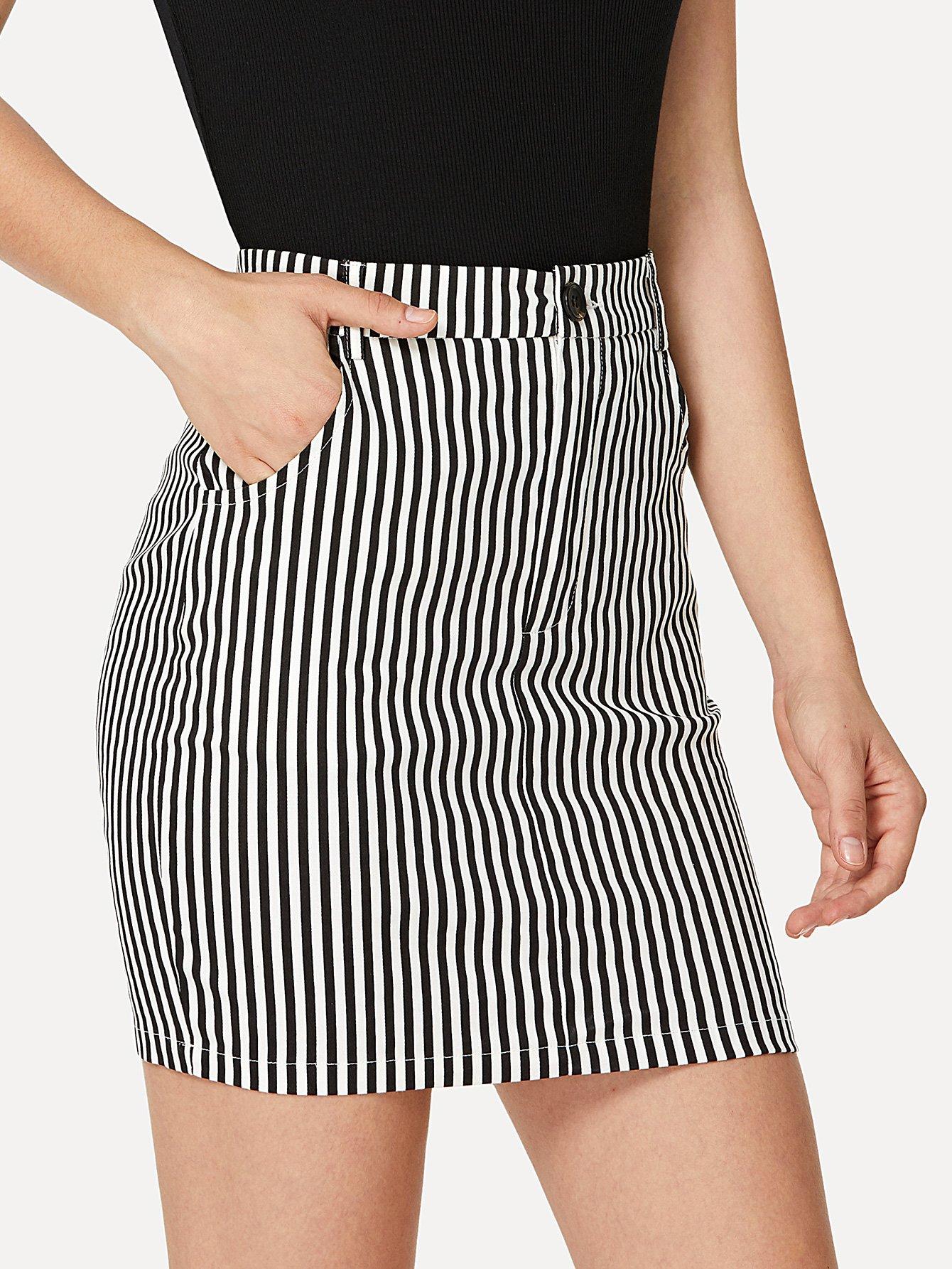 Zip Up Pinstripe Skirt
