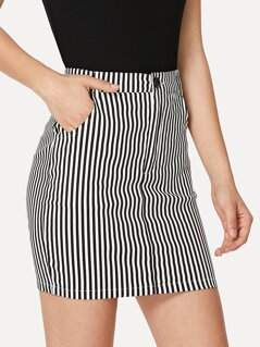 Zip Up Pinstripe Skirt
