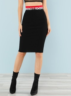 Ribbed Knit Skirt with Letter Print Waist Band
