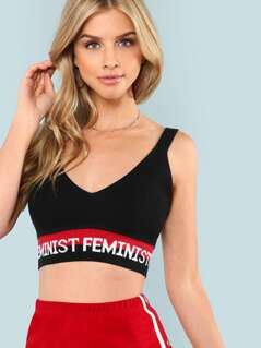 Ribbed Knit Crop Top with Letter Print Band