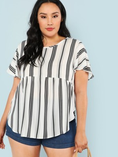 Stripe Print Frill Top with Keyhole Back