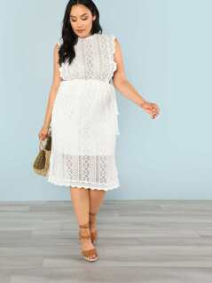Plus Sleeveless Crochet Lace Overlay Dress