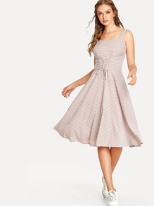 Lace Up Corset Gingham Dress