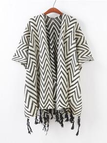 Zigzag Print Tassel Cardigan