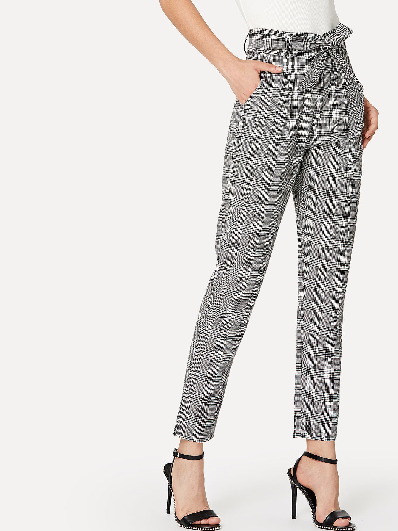Plaid Knot Front Belted Pant knot front fit