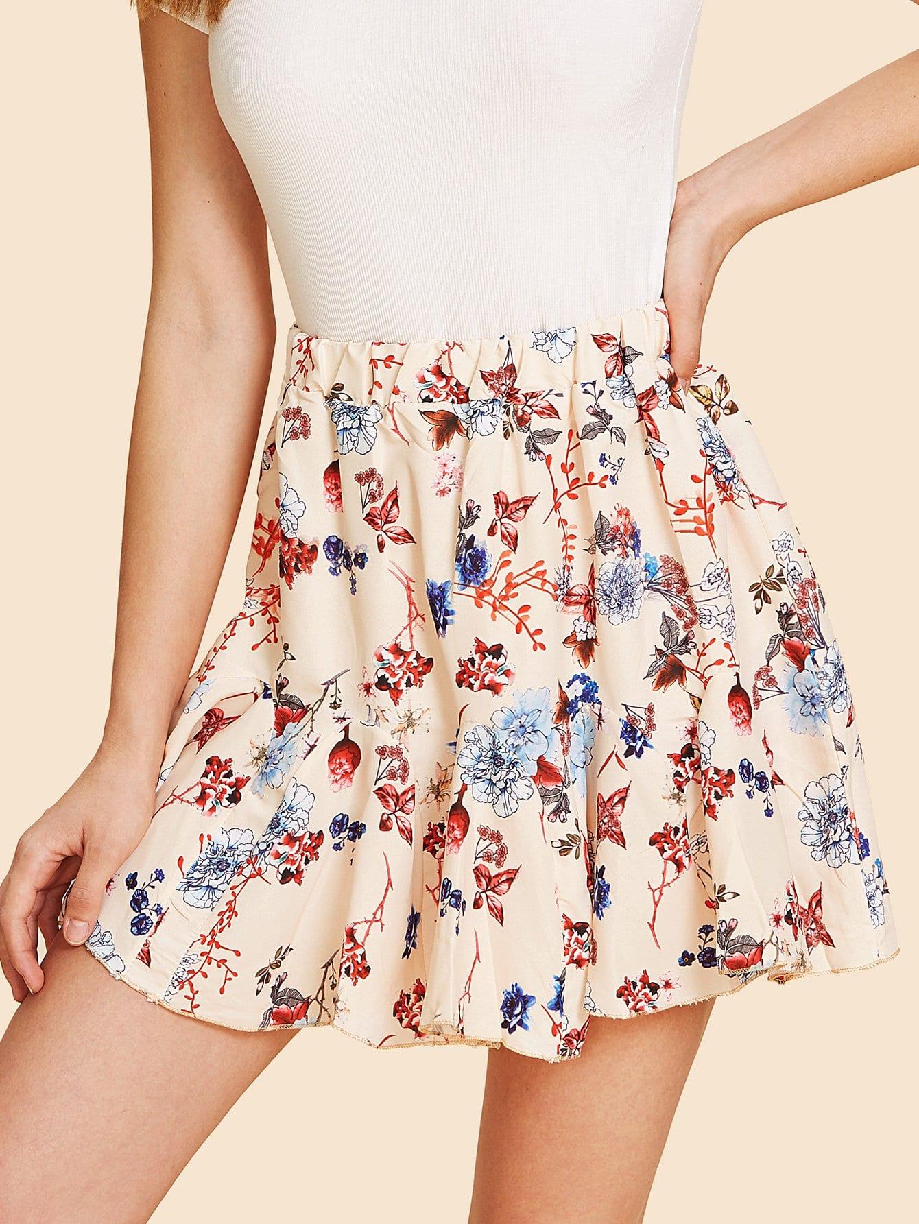 Floral Print Ruffle Hem Skirt ruffle waist zip back scallop hem embroidered gingham skirt