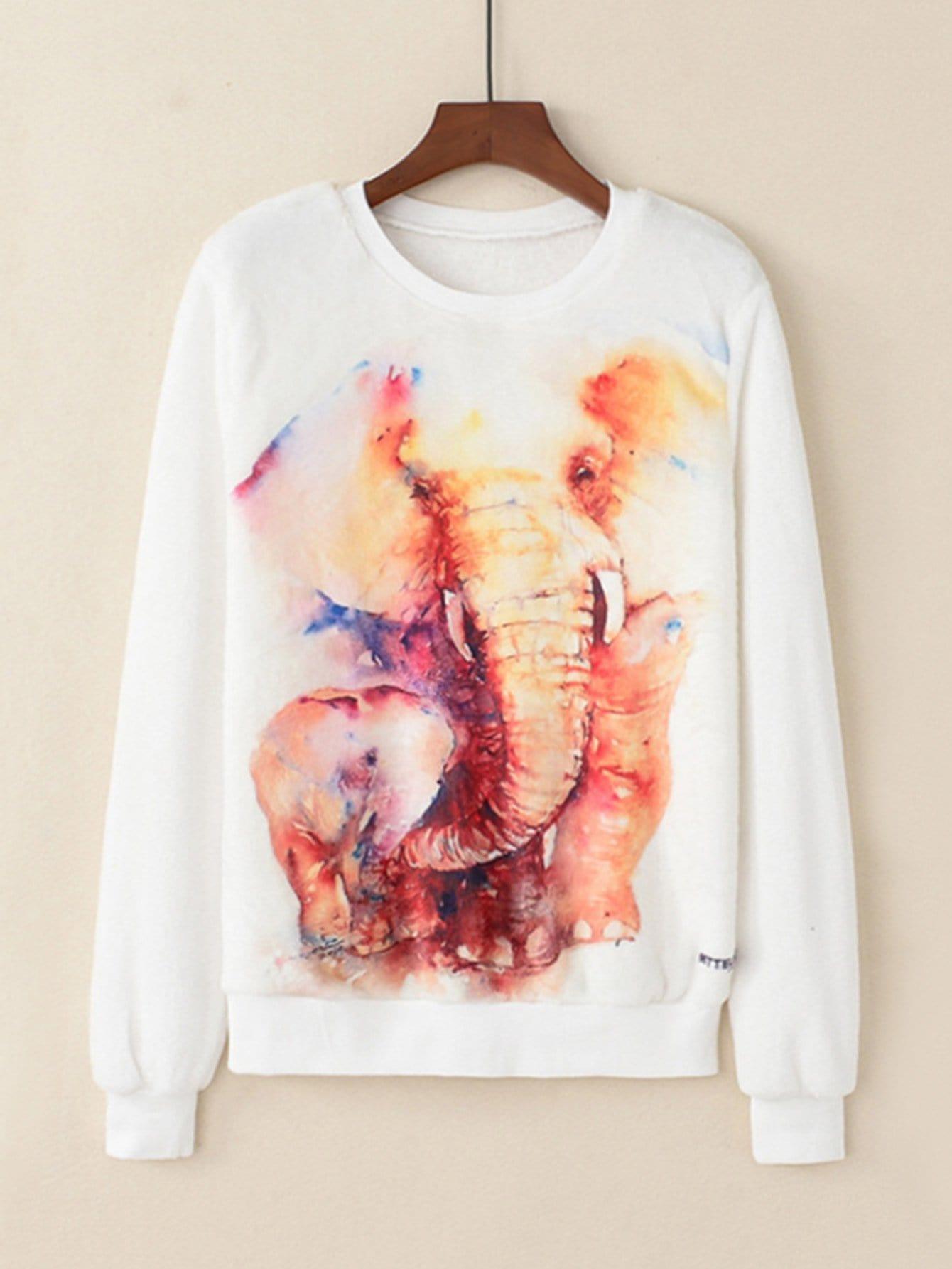 Купить Свитшот с принтом слон, null, SheIn