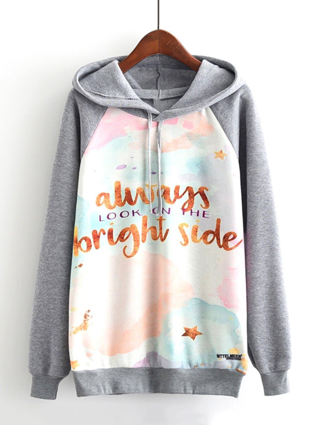 Slogan Print Raglan Sleeve Sweatshirt slogan print drop shoulder sweatshirt