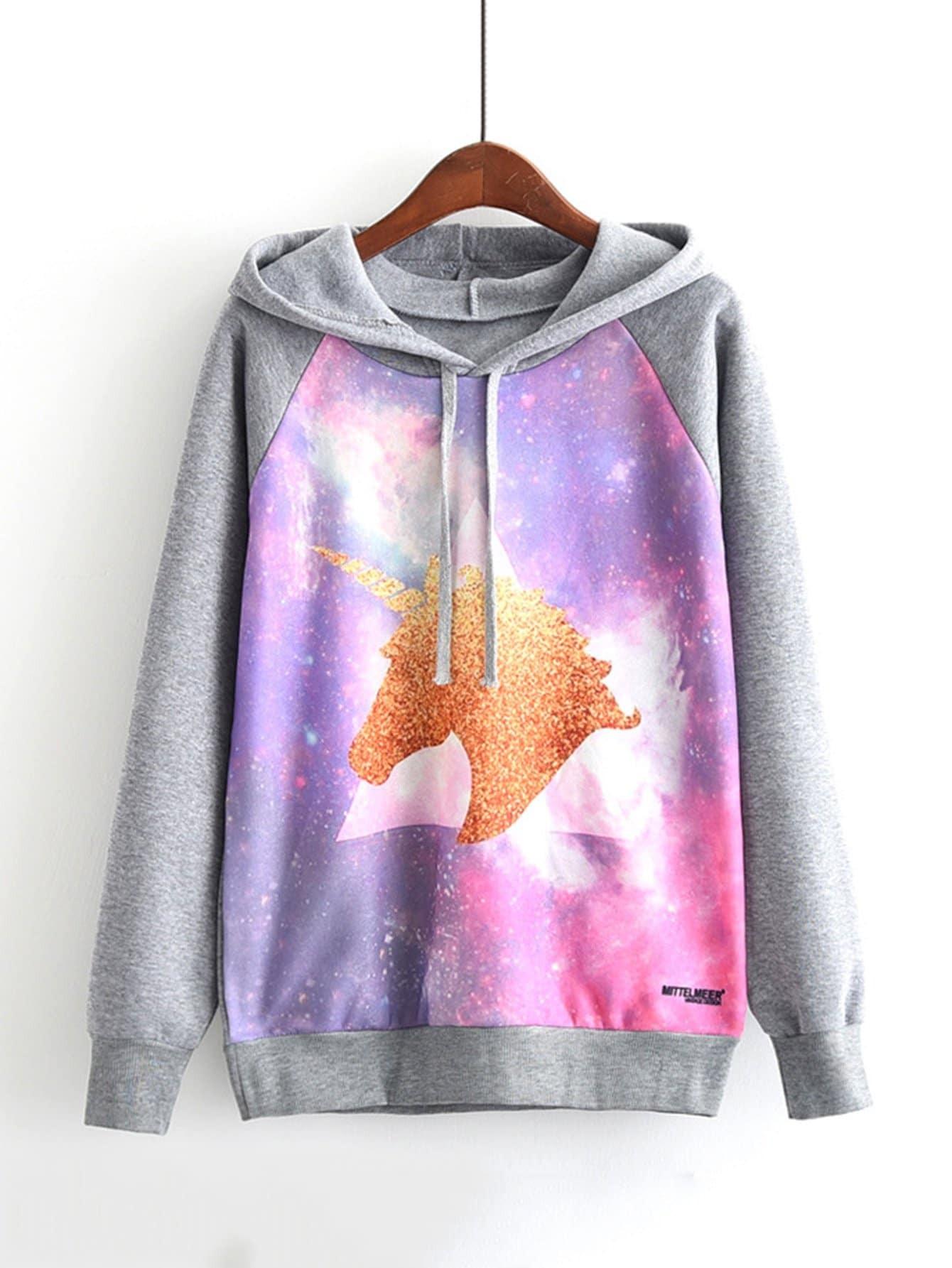 Graphic Print Raglan Sleeve Hoodie colorful zipper design raglan sleeve hoodie