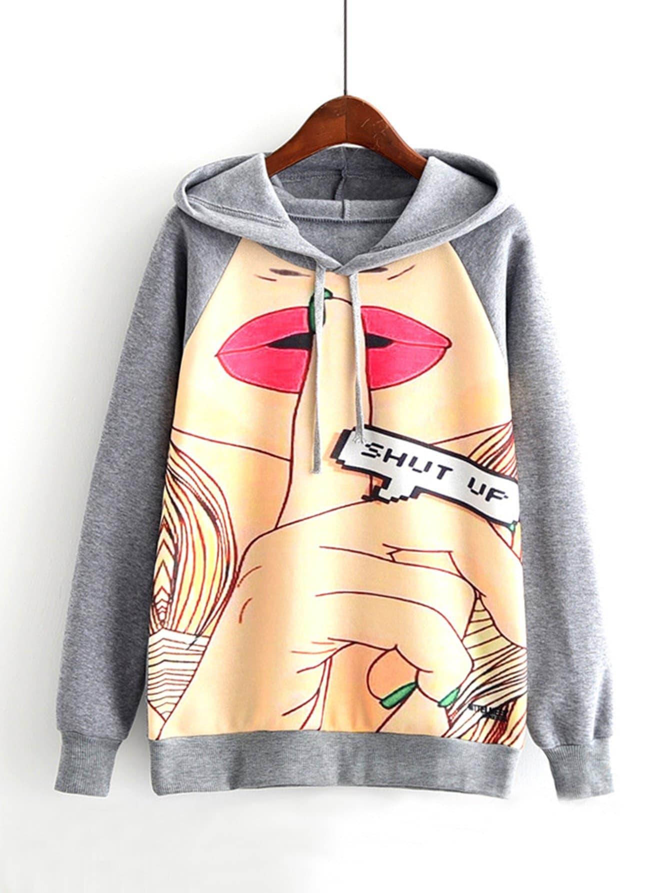 Graphic Print Raglan Sleeve Hoodie raglan sleeve king graphic hoodie
