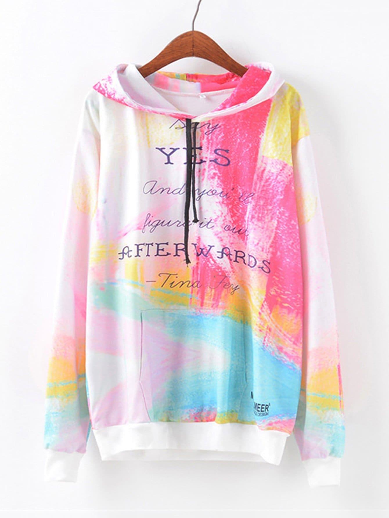 Letter Print Colorful Hoodie letter print raglan hoodie