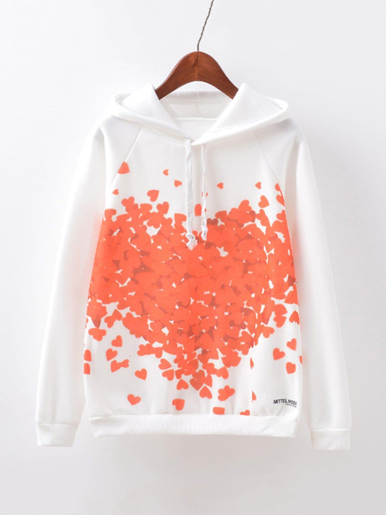 Love Print Raglan Sleeve Hoodie letter print raglan hoodie