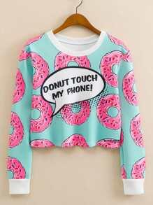 Donuts Print Contrast Trim Crop Sweatshirt