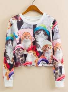 Cats Print Crop Sweatshirt