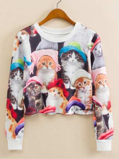 Sweat-shirt court imprimé de chat