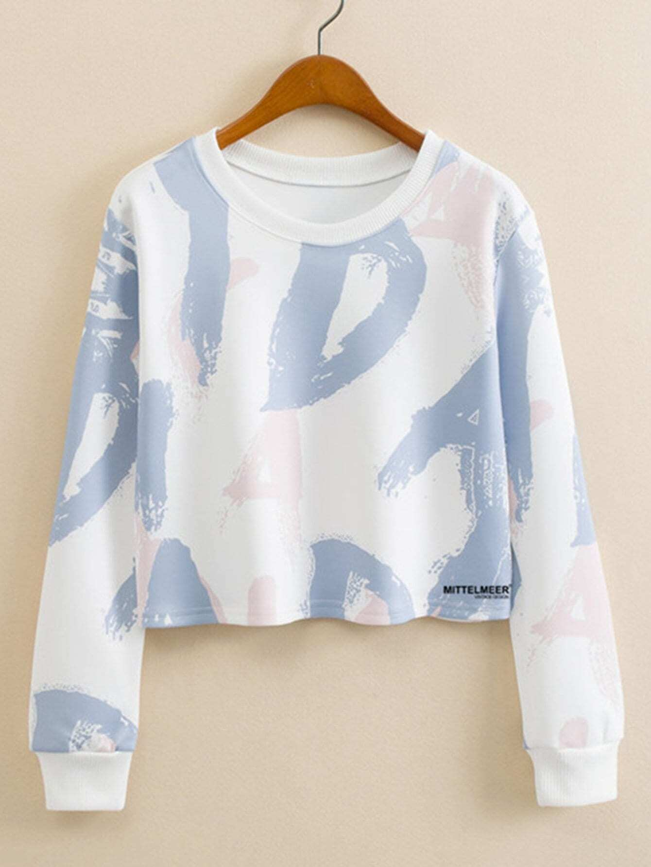 Letter Graffiti Print Crop Sweatshirt drop shoulder letter print marled crop sweatshirt