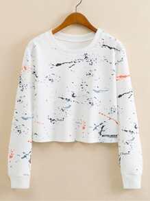 Splash Color Print Crop Sweatshirt