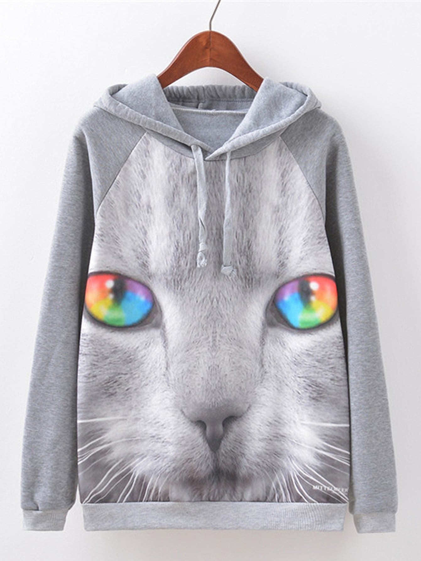 Color-Eye Cat Print Hoodie cat eye glasses tinize 2015 tr90 5832