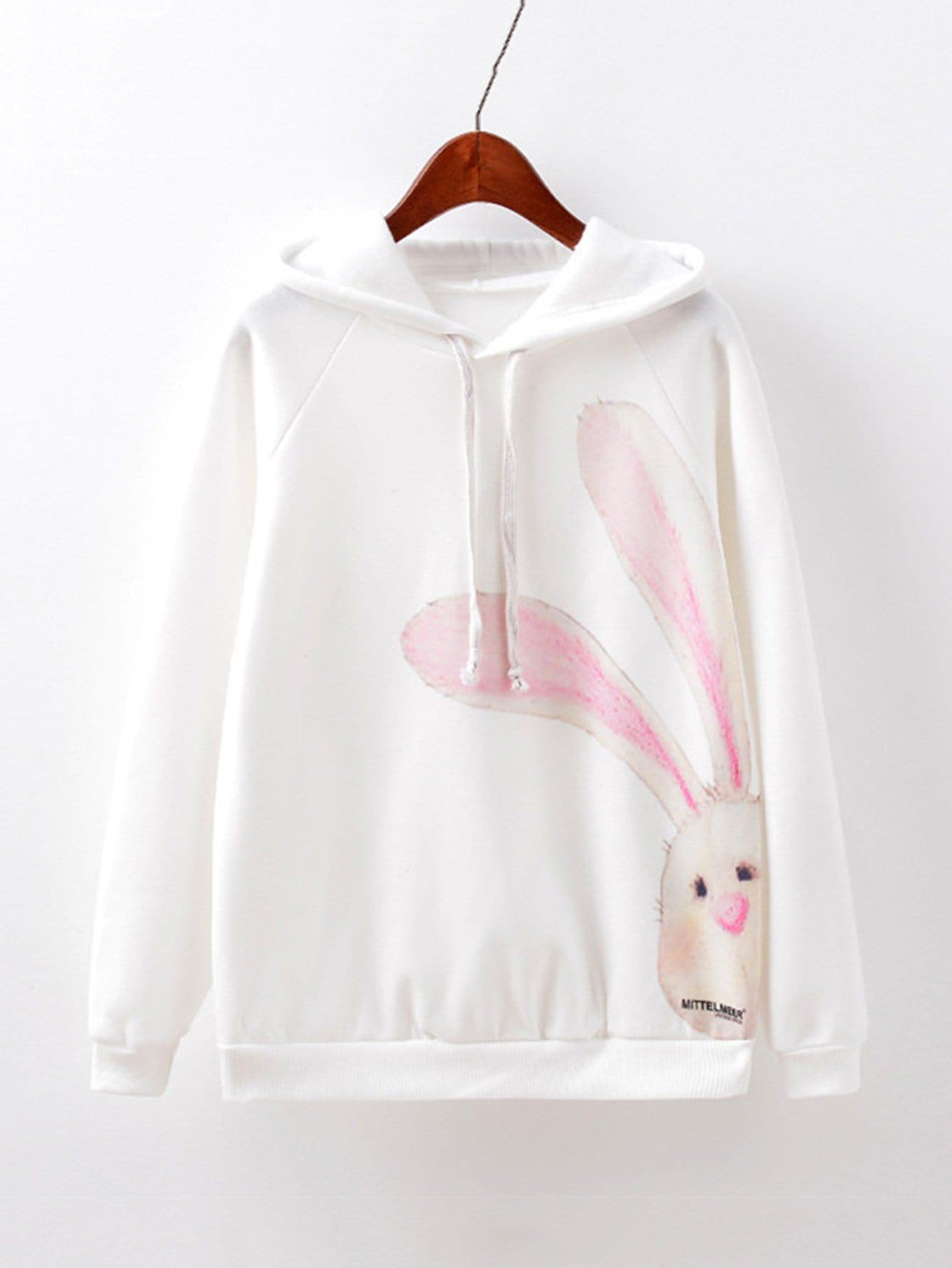Купить Худи с рукавами реглан с принтом кролики, null, SheIn
