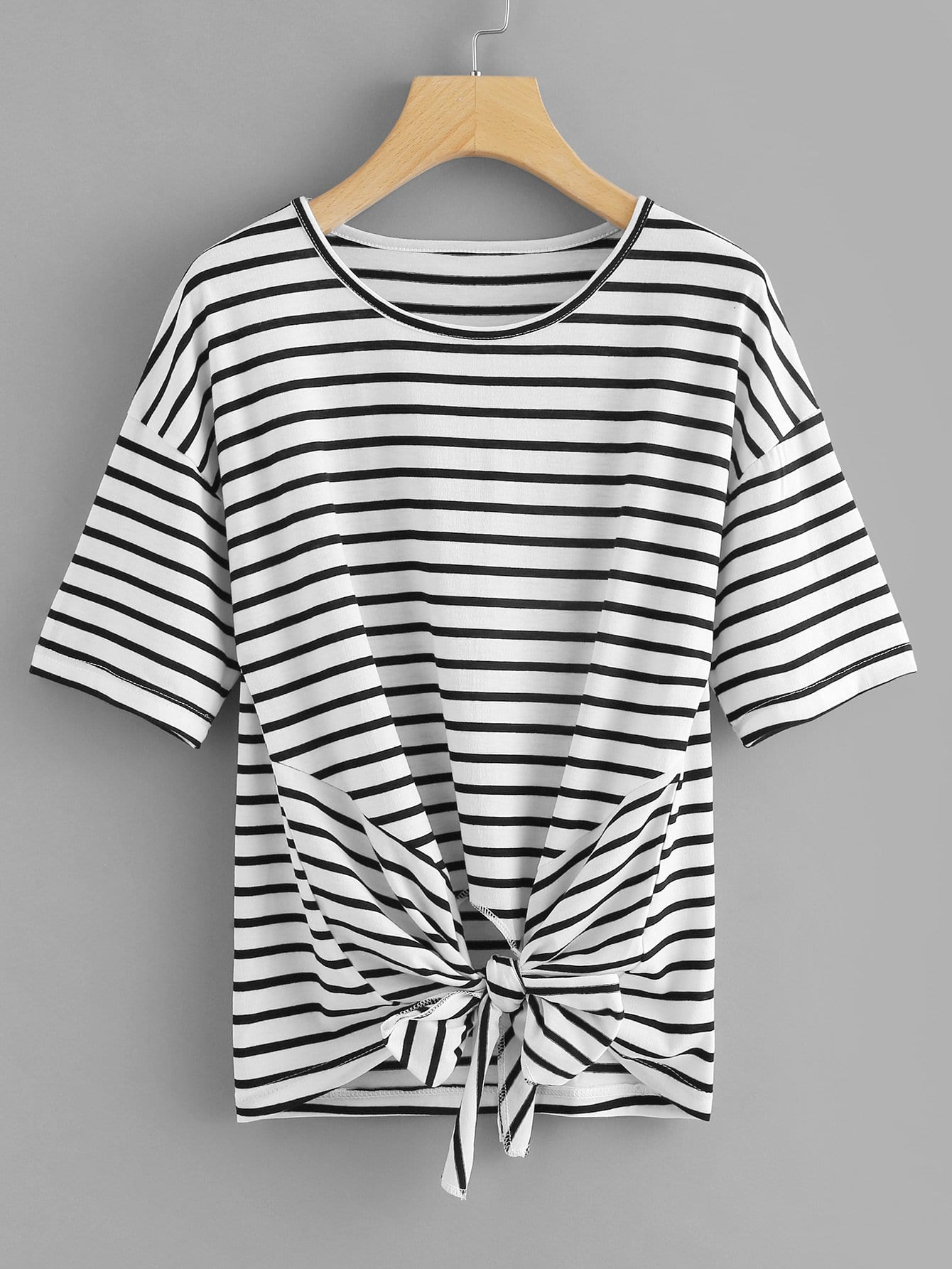 Striped Knot Hem Tee castor 2107 1