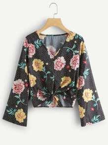 V Neckline Floral Print Polka Dot Top