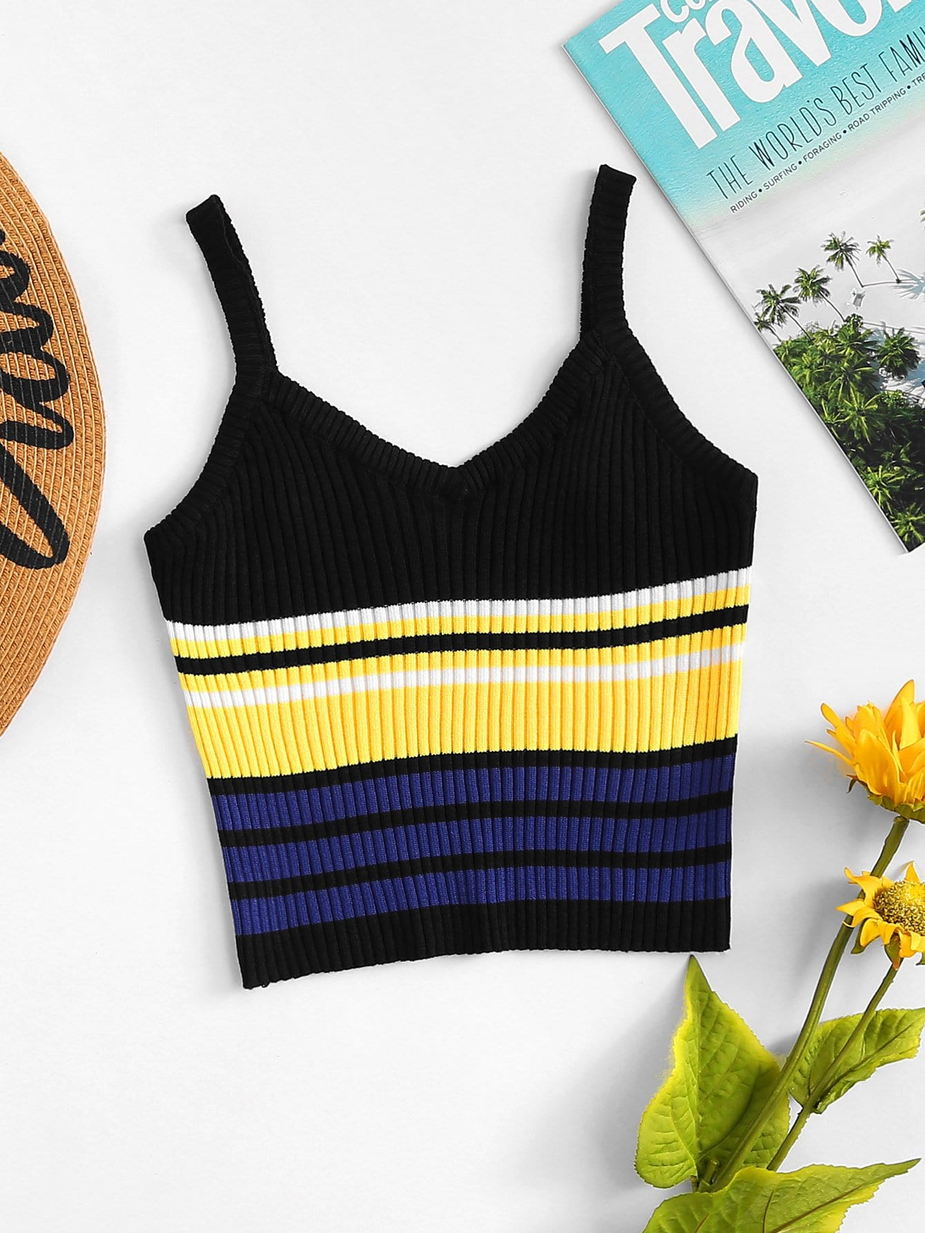 Striped Color Block Cami Top striped print color block cami dress