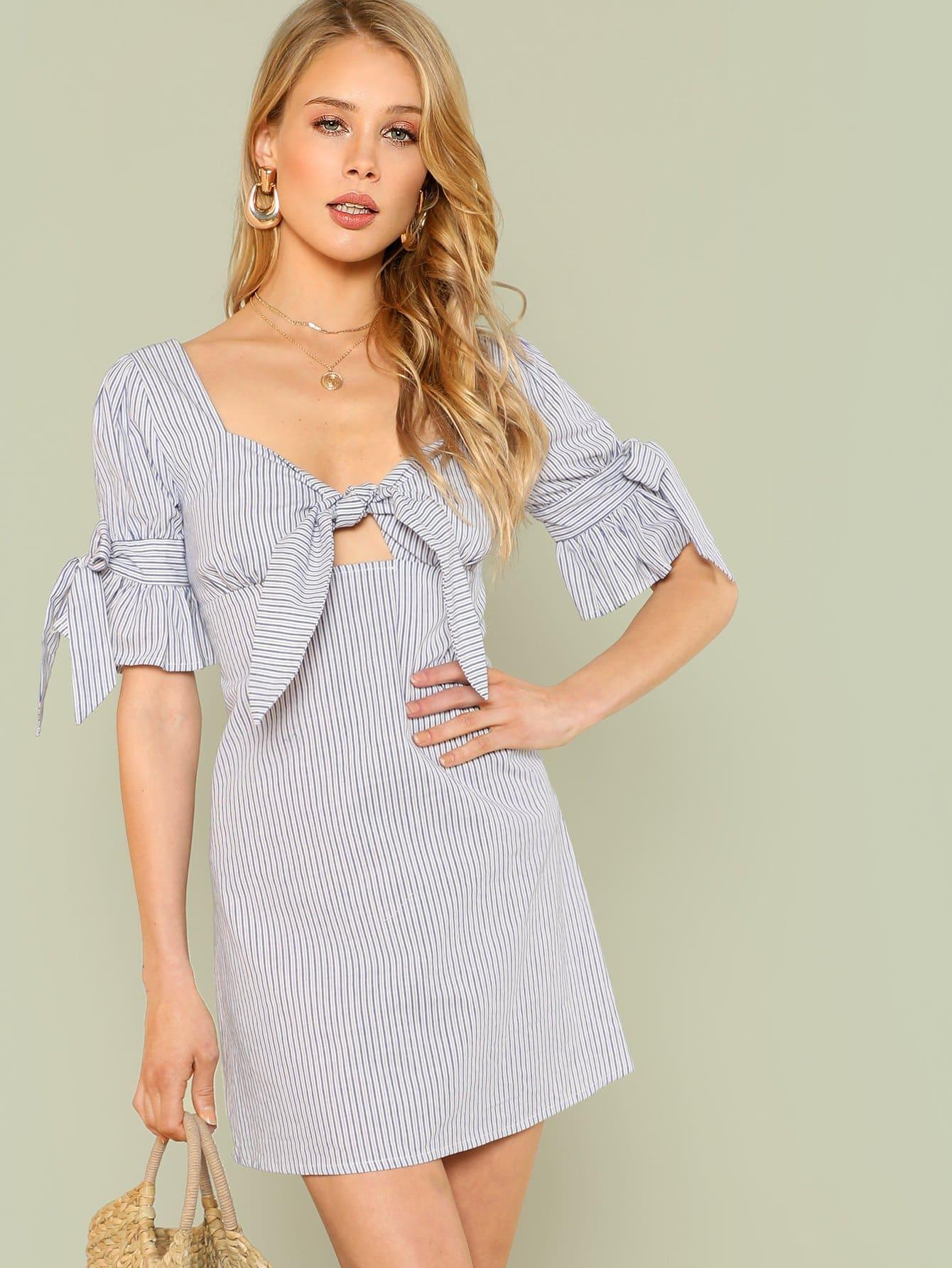 Flounce Sleeve Knot Pinstripe Dress flounce hem belted pinstripe cami dress
