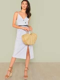 Asymmetric Placket Striped Cami Dress