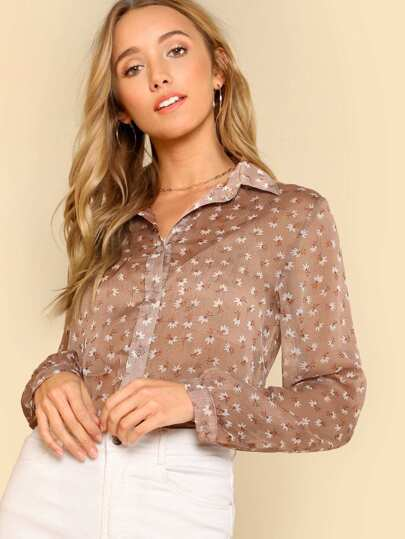 Cut Out Floral Pattern Blouse