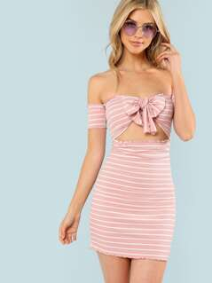 Lettuce Edge Knot Front Bardot Striped Dress