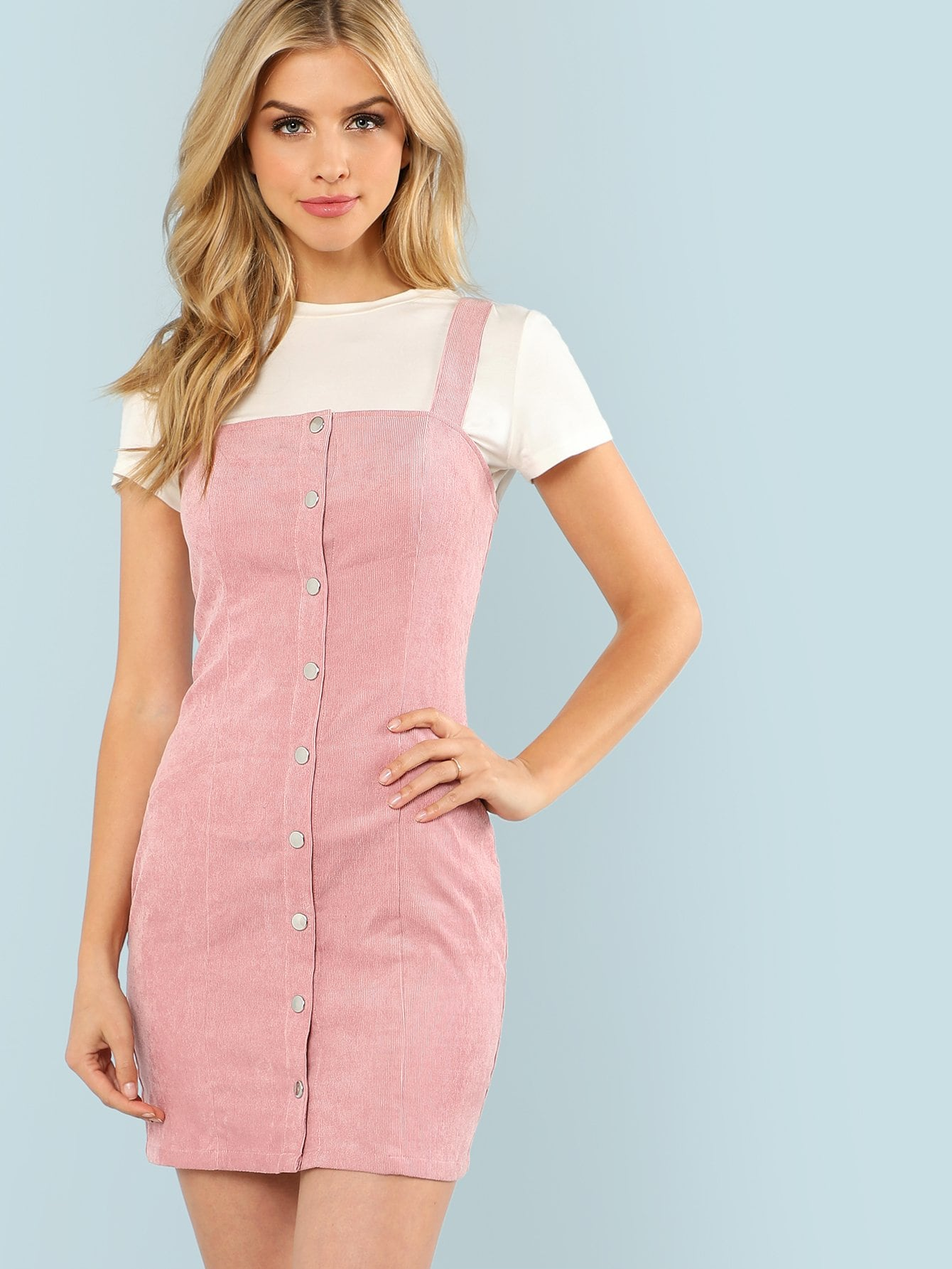 Thick Strap Button Up Front Cord Dress button front strap dress
