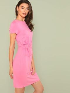 Bow Embellished Solid Dress