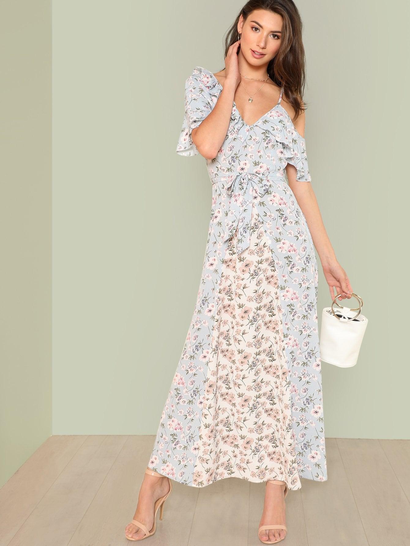 Купить Цветочное платье макси, Zandria Theis, SheIn