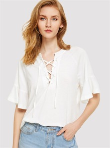 Lace Up Front Flounce Sleeve Tee