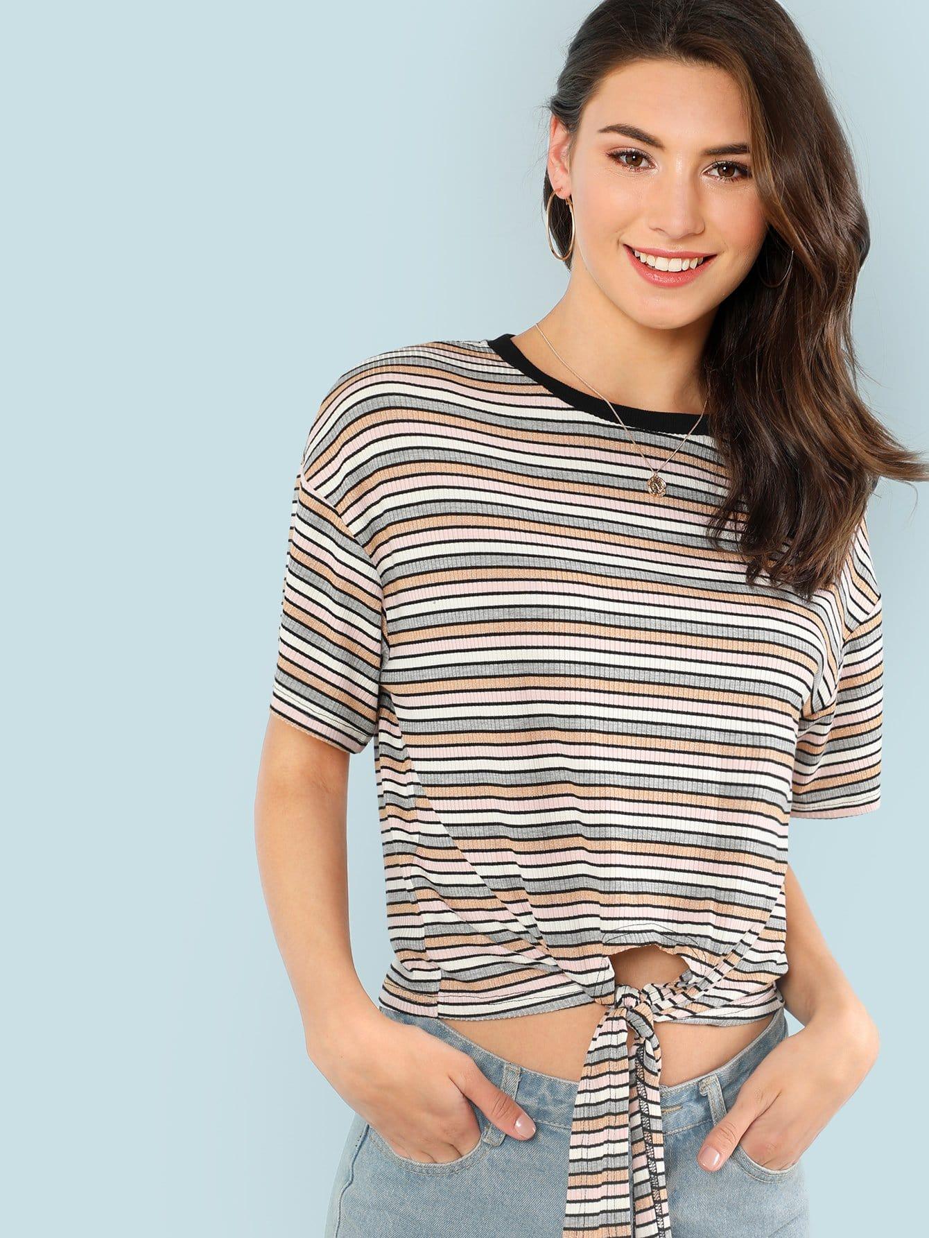 Knot Front Rib Knit Striped T-shirt rib knit tights