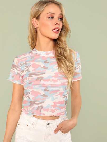 Mock Neck Crop Tee