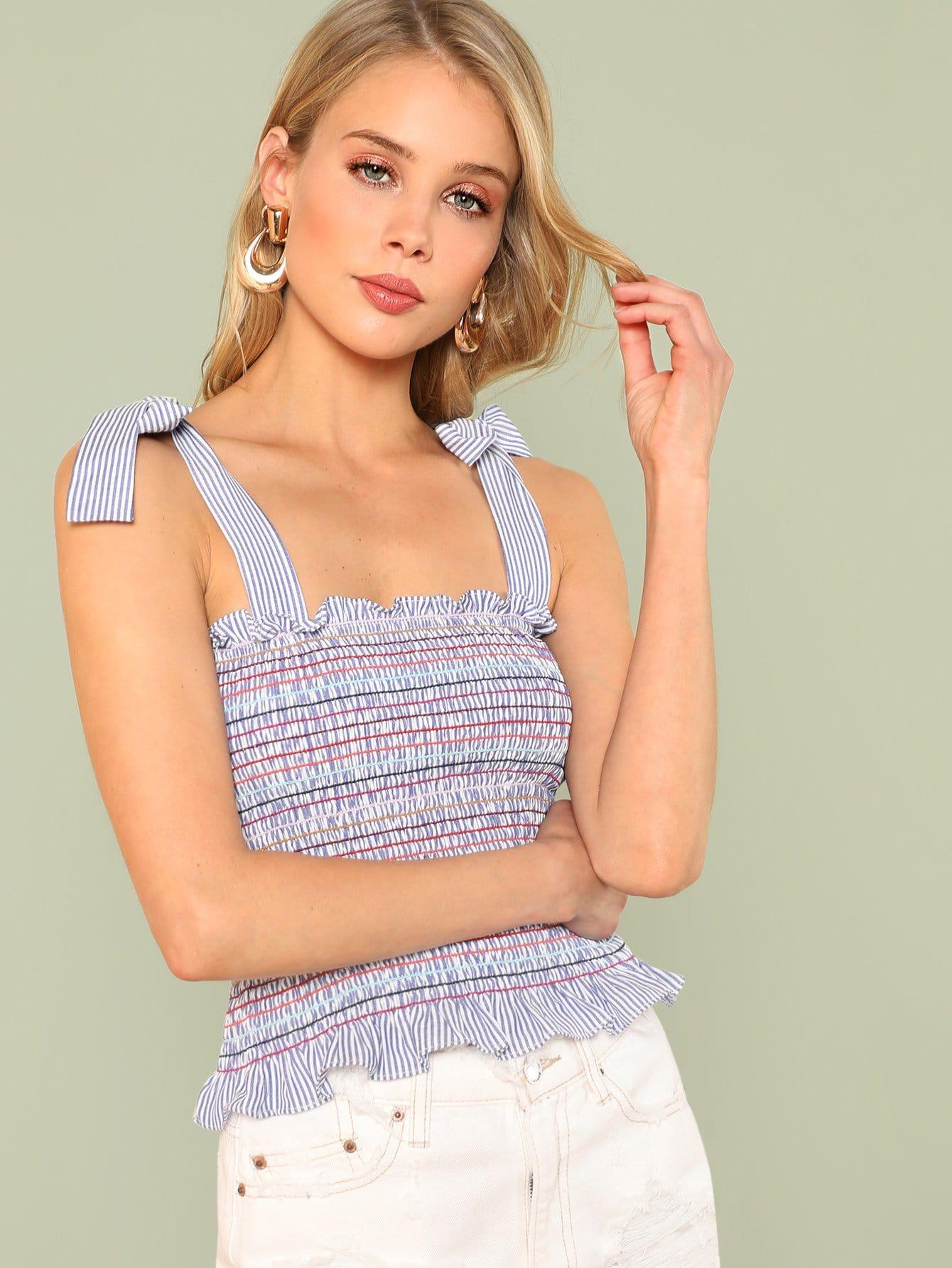 Self Tie Shoulder Shirred Striped Top self tie shoulder shirred bodice geo dress
