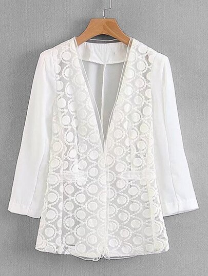 Embroidered Mesh Panel Blazer
