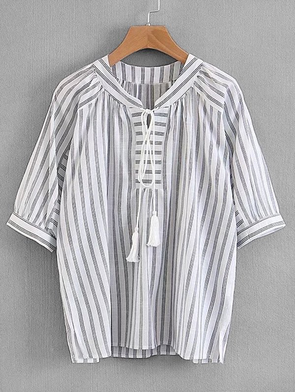 Tassel Tie Striped Blouse tassel tie striped blouse