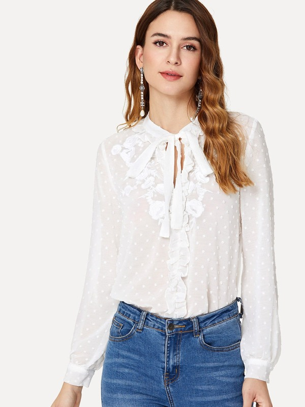 7b790d1bde Tie Neck Dotted Embroidery Blouse -SheIn(Sheinside)