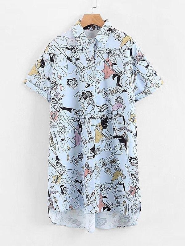 Comic Print High Low Shirt Dress emoji print high low night dress