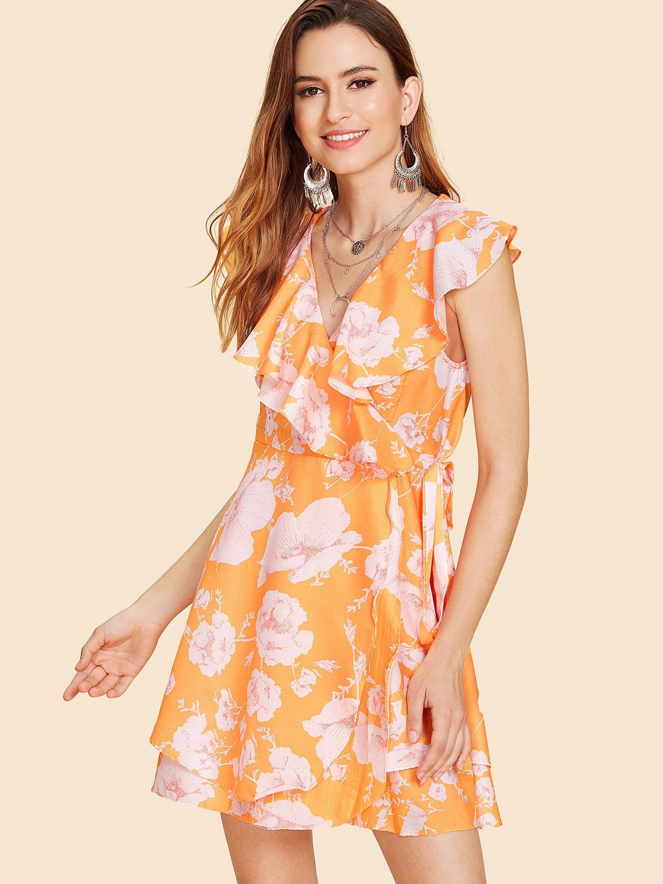 All Over Florals Ruffle Trim Wrap Dress all over florals ruffle hem wrap dress