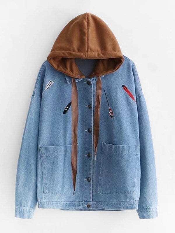 Embroidered Drop Shoulder Denim Jacket With Detachable Hooded rose embroidered drop shoulder denim shirt