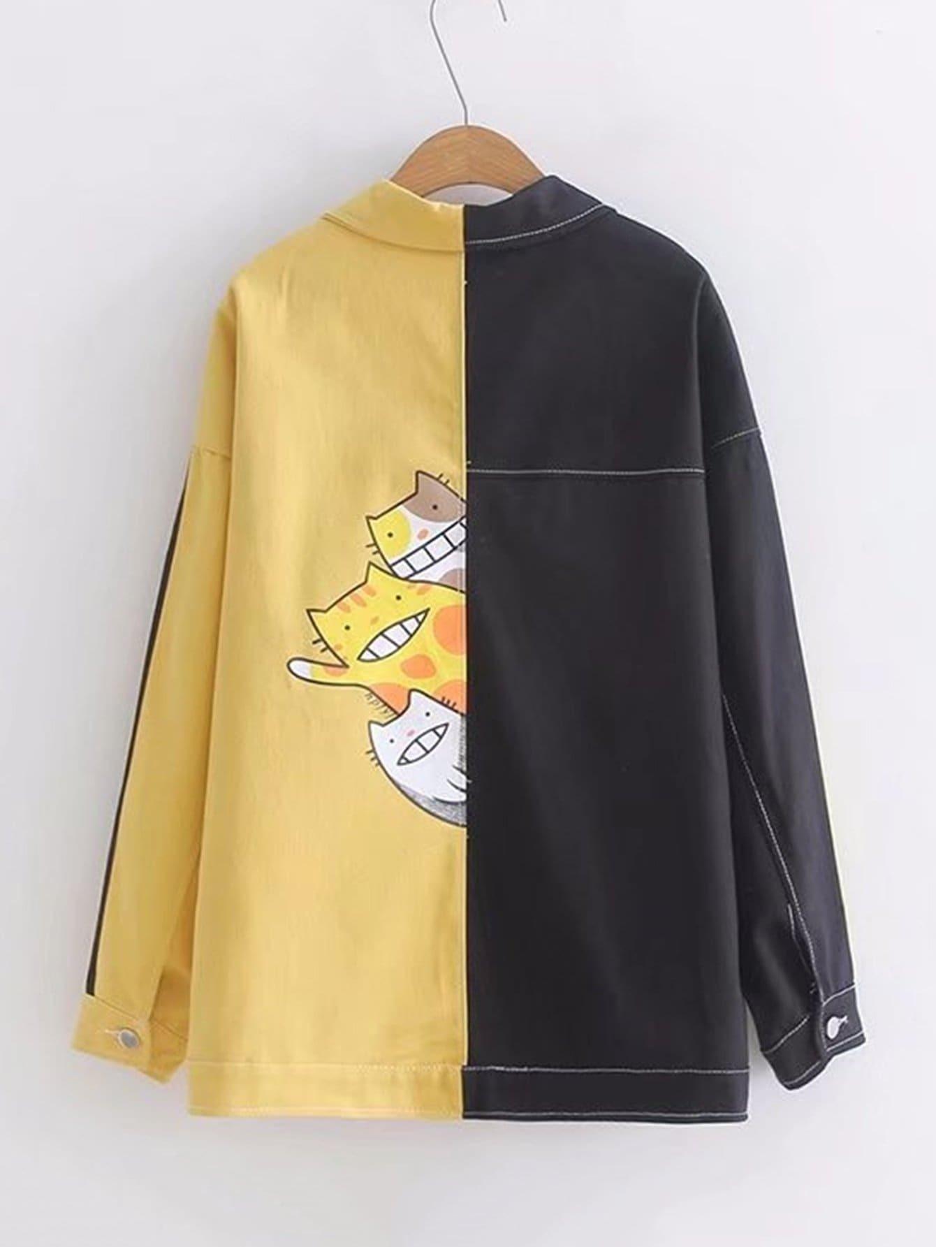 Two Tone Cat Print Denim Jacket two tone letter print t shirt