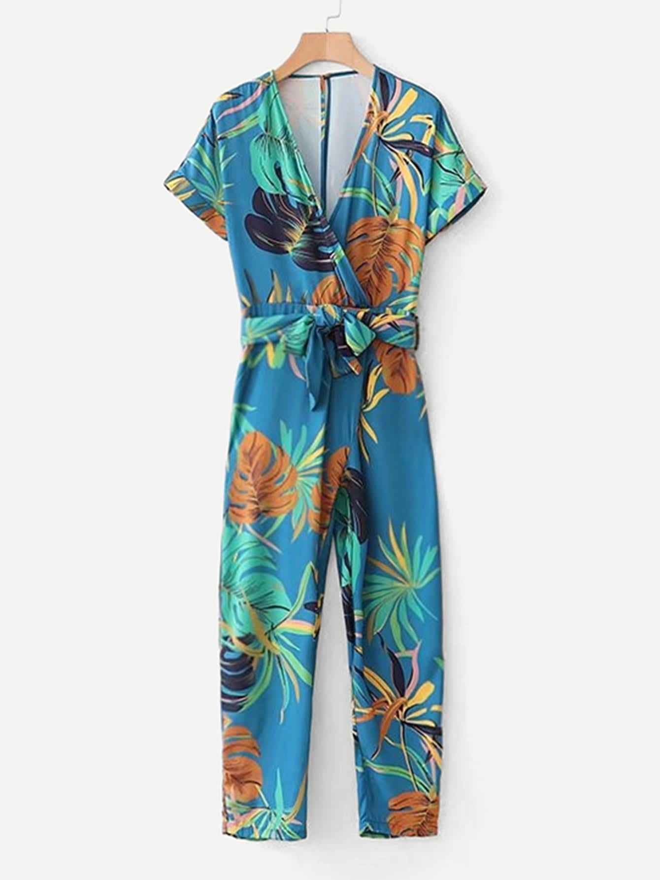 Foliage Print Surplice Neckline Belted Jumpsuit halter surplice floral print jumpsuit