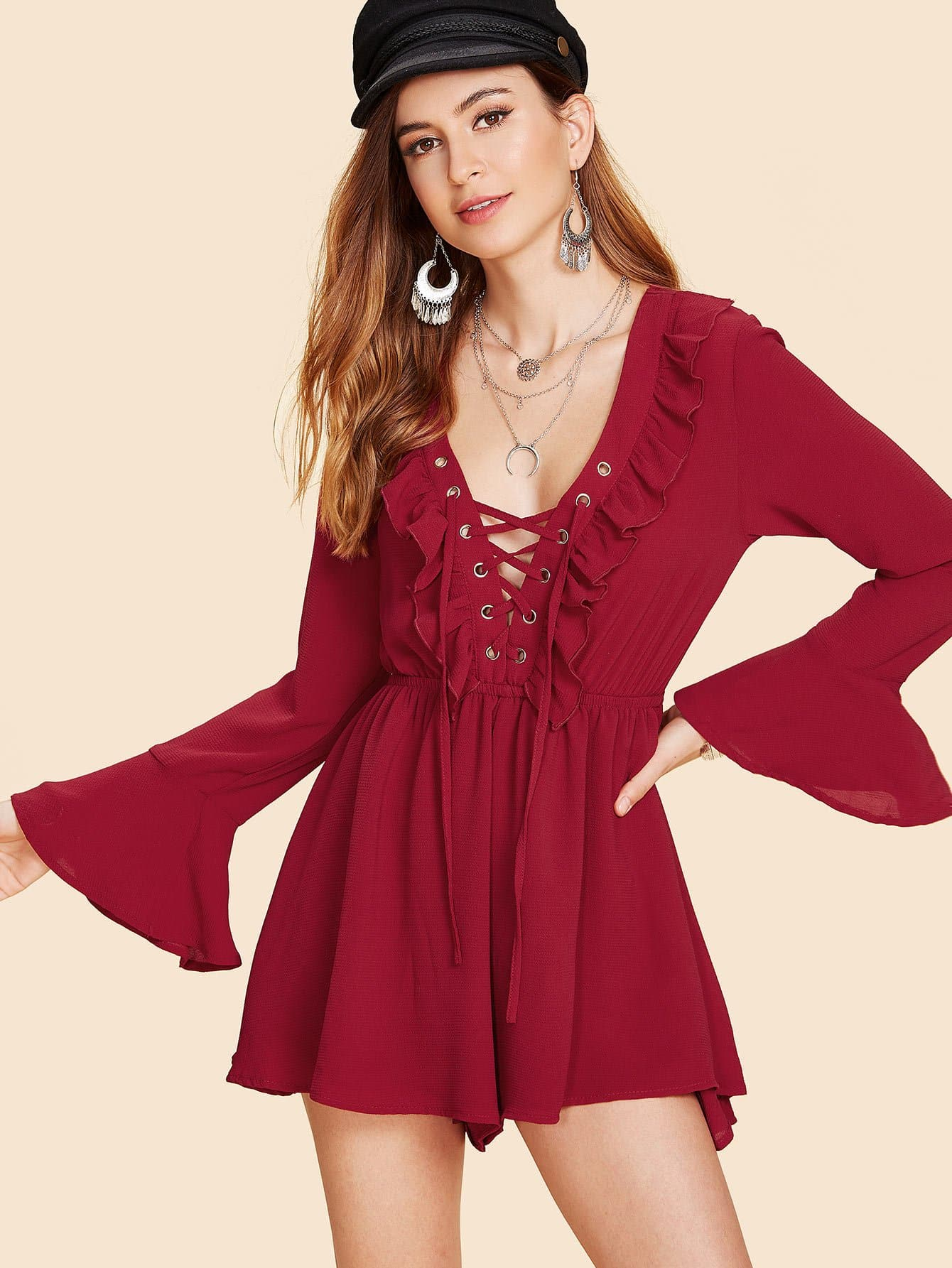 Plunge Lace Up Ruffle Trim Romper ruffle trim striped romper
