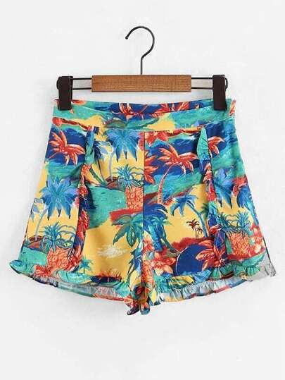 Oil Painting Print Frill Trim Shorts