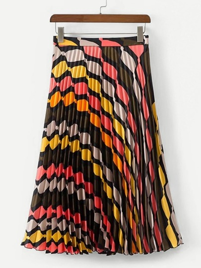 Geo Pattern Pleated Skirt